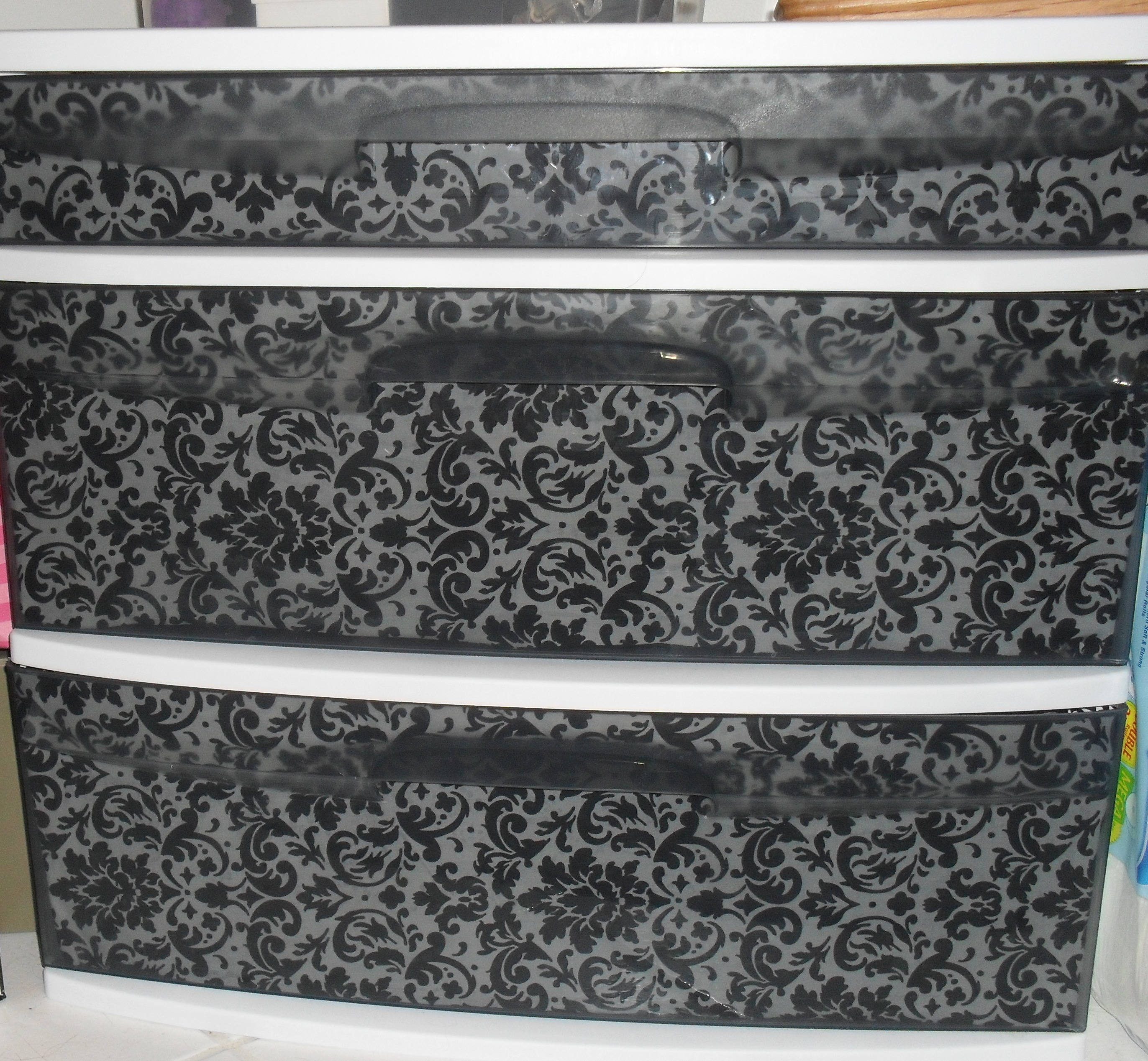 Use fabric to cover your see through drawers