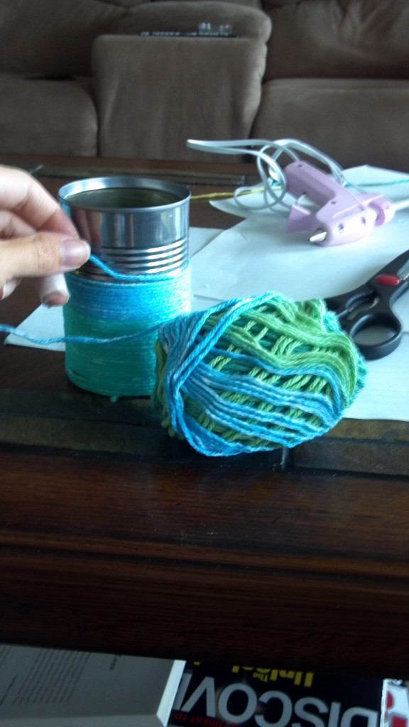 Yarn project using a soup can
