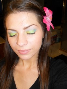 Green yellow and blue eye shadow
