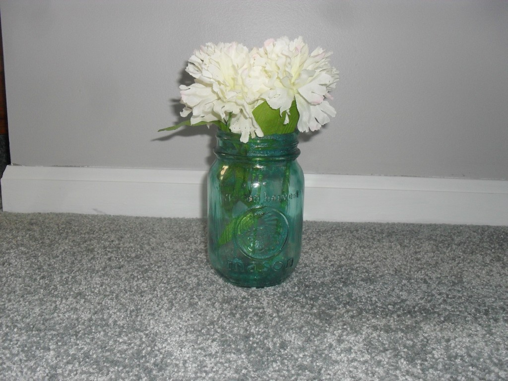 Oven baked mason jar with modge podge and food coloring