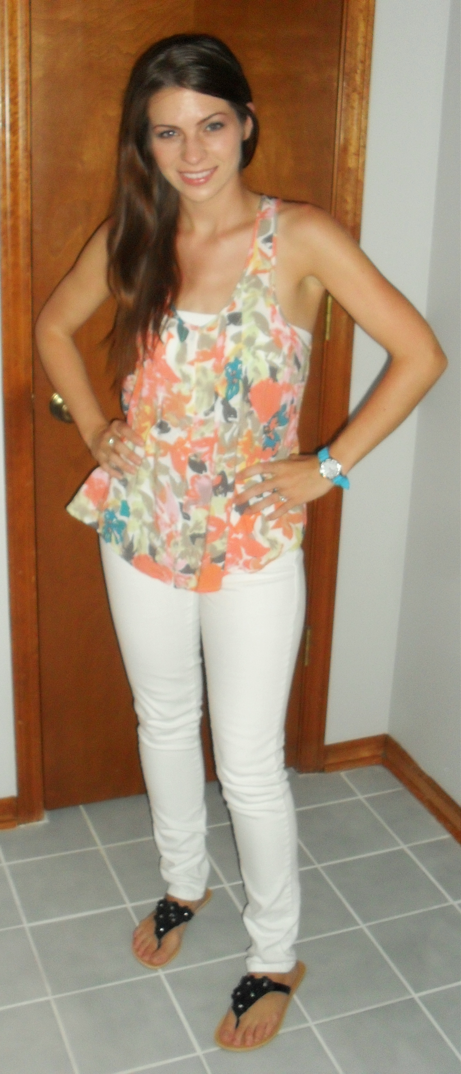 Summer white skinny jean outfit