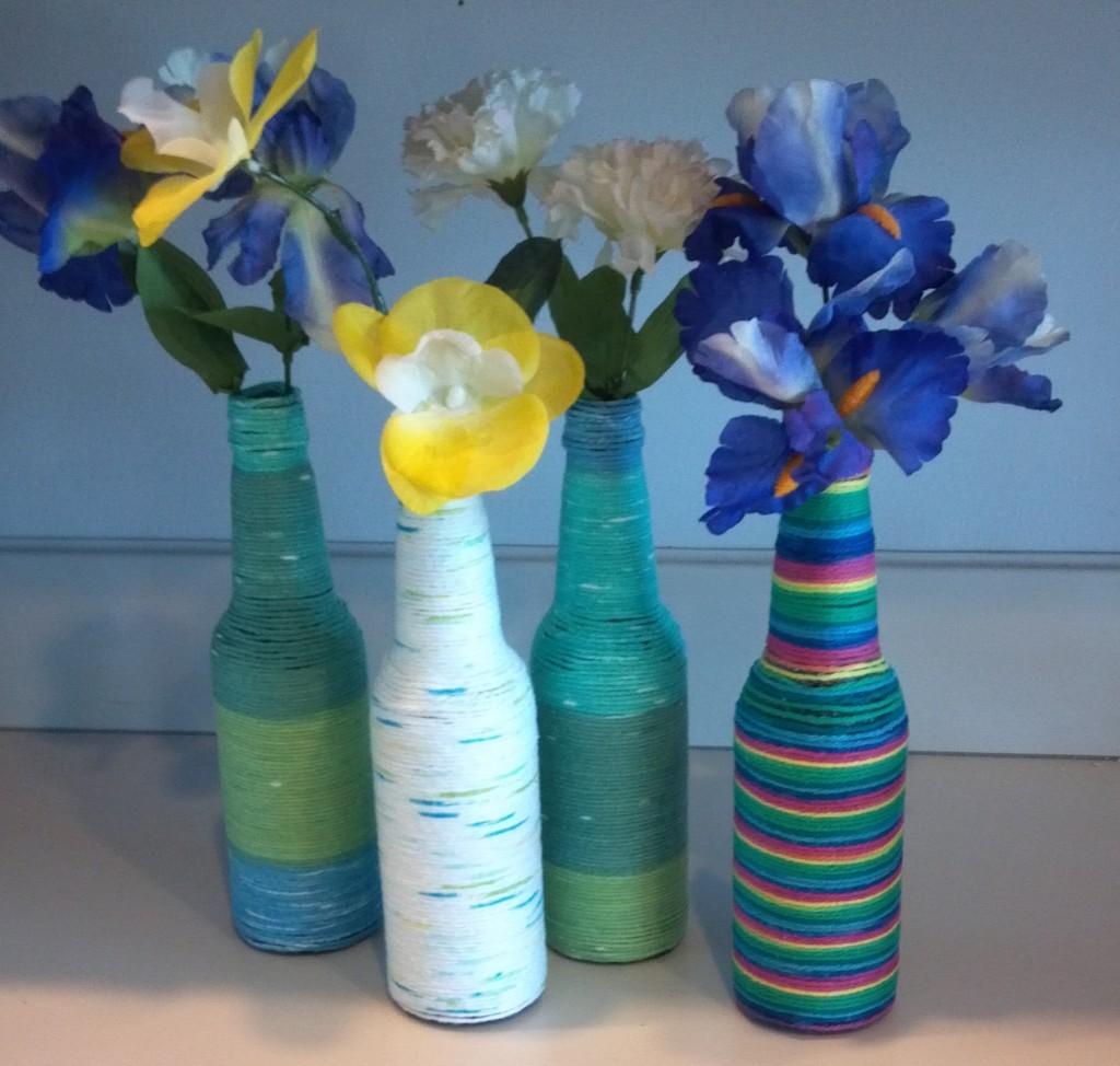 yarn glass bottle vases