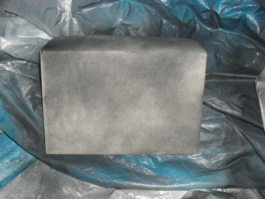 black spray painted envelope