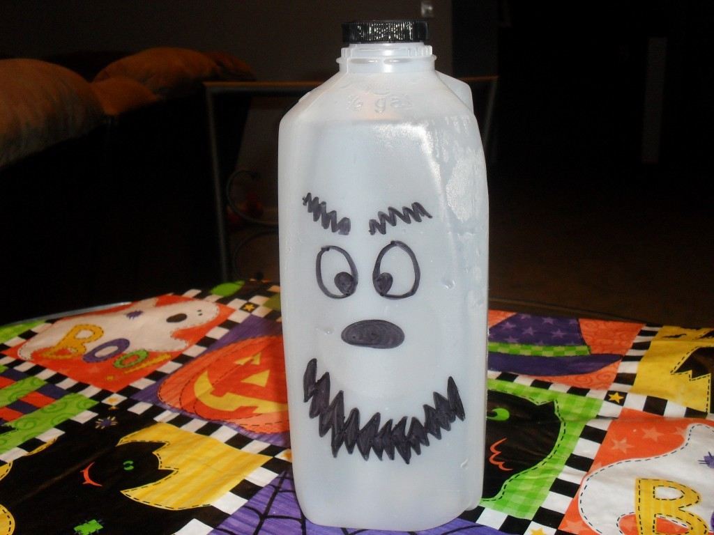 Make a ghost out of a milk carton