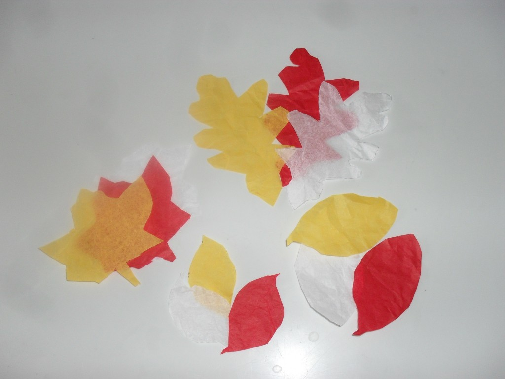 tissue paper leaves
