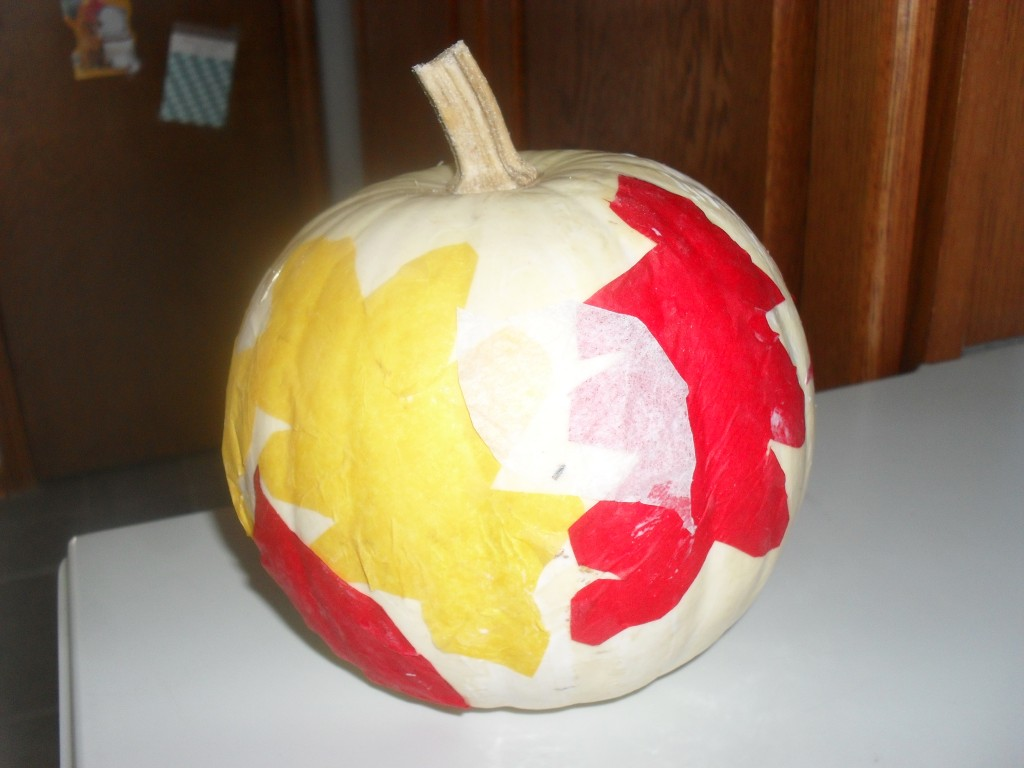 pumpkin craft with tissue paper