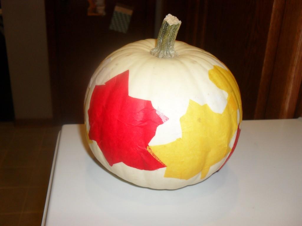 tissue paper pumpkin craft