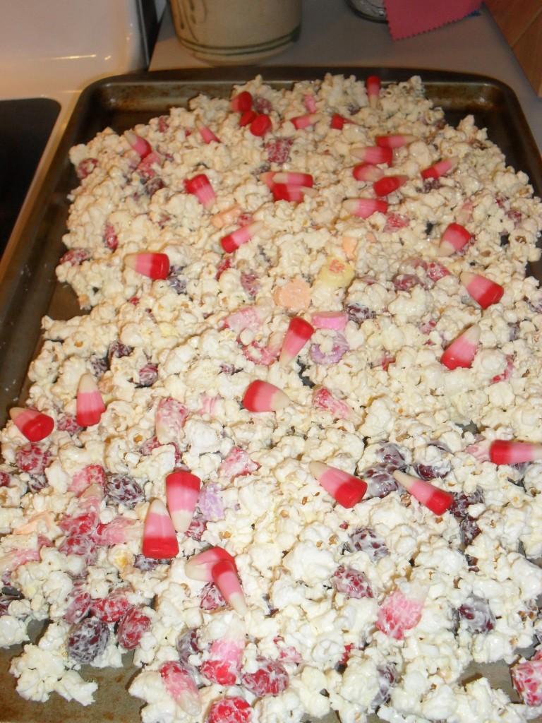 white chocolate morsel cherry popcorn