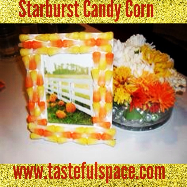 A Starburst Candy Corn frame is inspired by Tori Spelling! Search 'Starburst Candy Corn'