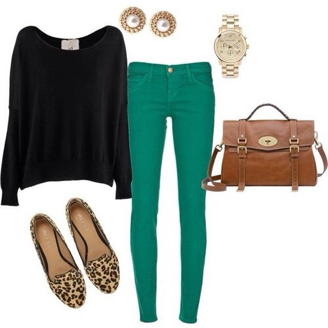 It's Wardrobe Wednesday! Pair colored pants with an oversized sweater and leopard flats for a trendy fall look!