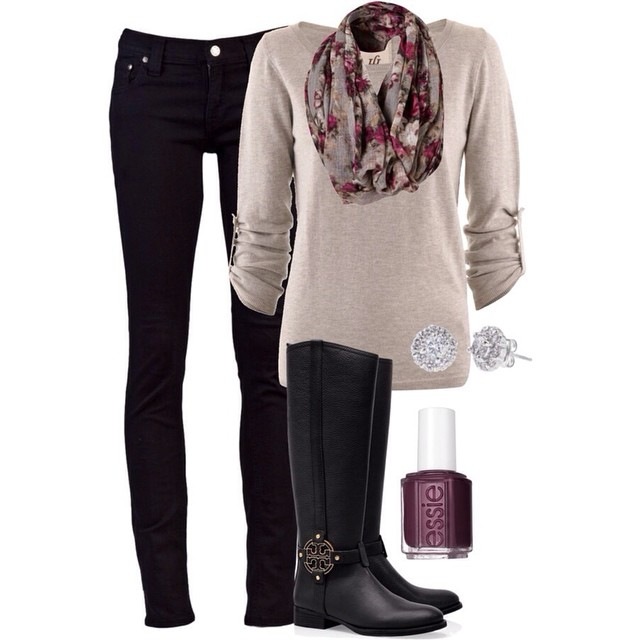 Wardrobe Wednesday is all about black skinny denim paired with matching rider boots and a sweater with scarf. Accessorize with earrings and nail polish!