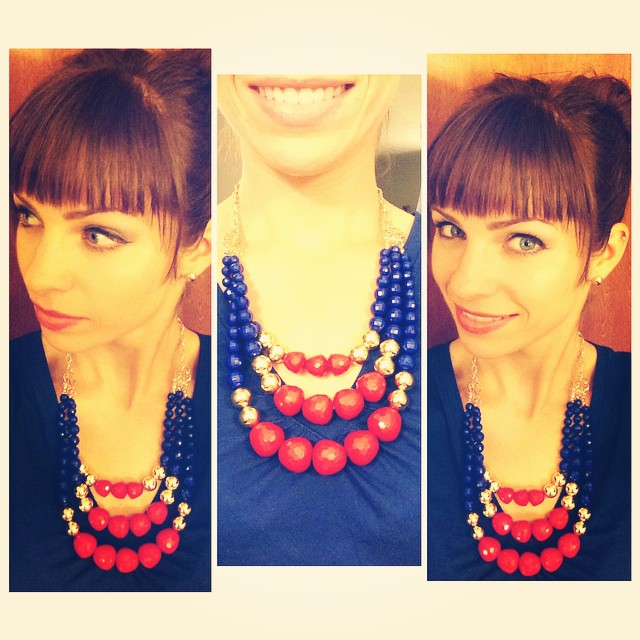 I am a big fan of statement necklaces…they are the perfect pairing for any top!