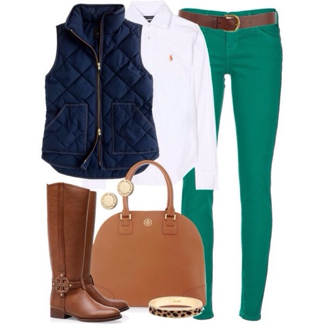 Try a fall preppy look with a vest, collared button down, and colored skinny's to beat the cold