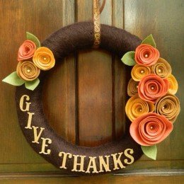 Wreaths complement any Holiday. This 'Give Thanks' wreath is perfect to welcome all to your home
