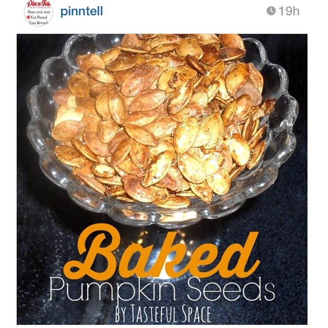 pinntell has featured my Baked Pumpkin seeds! They are a healthy fall treat to snack on