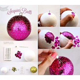 Make your own Sequin Balls Ornaments using a styrofoam ball, pins, and sequins