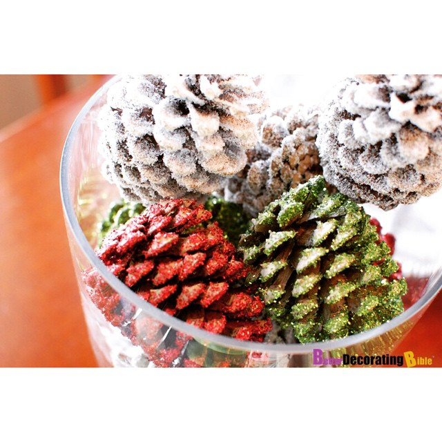 Spray paint pine cones and add glitter for a Christmas centerpiece
