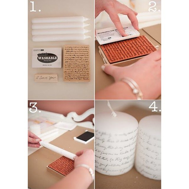 Make your own candles by using stamps! This is perfect for gift giving!