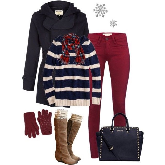 Love layering to keep warm this January! Mix strips with solids and add a bold color pant…preppy and chic!