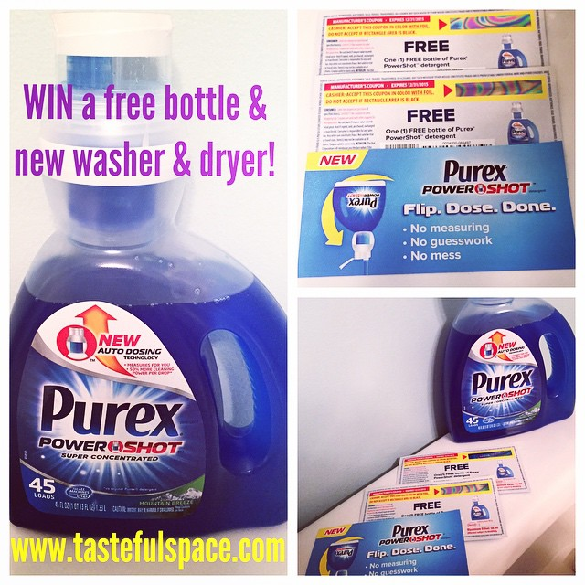 I am giving away free bottles of the new Purex PowerShot Detergent! Enter to win a new washer and dryer from Whirlpool too! Enter at http://ift.tt/KW1TtJ daily!