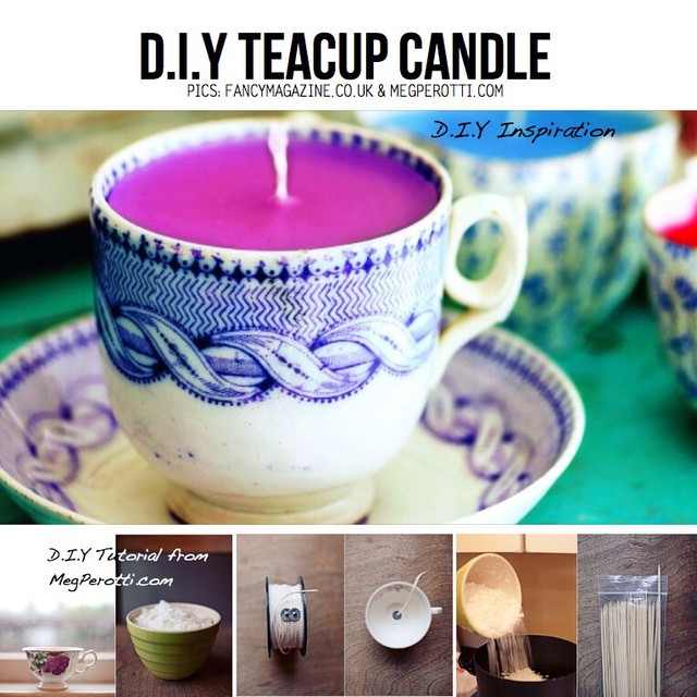 A Teacup Candle from megperotti.com is the perfect weekend project! How adorable is this?!