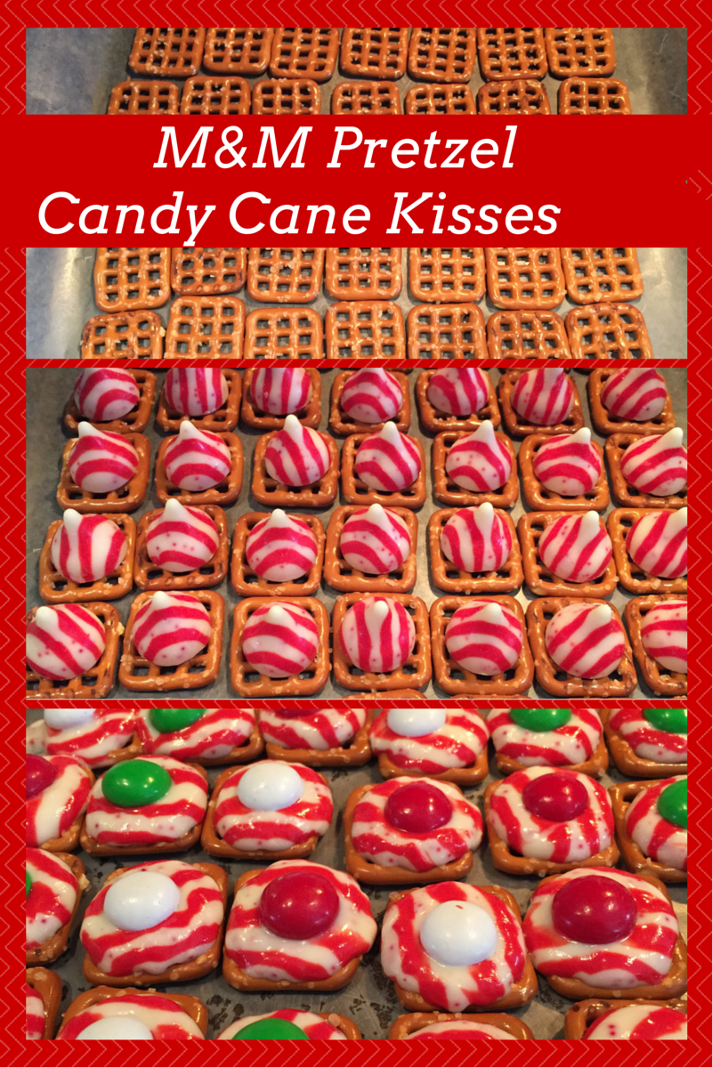 M&M Pretzel Candy Cane Kisses
