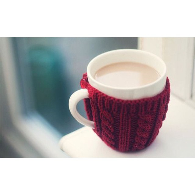 Saying hello to a warm latte and mug cozy this Monday morning!
