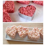 Food coloring and cookie cutters make Rice Krispie Hearts!