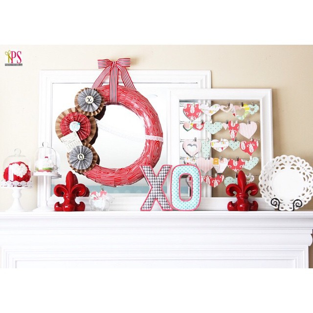 How do you decorate your mantel for Valentines Day? Adding different colors creates a unique touch!