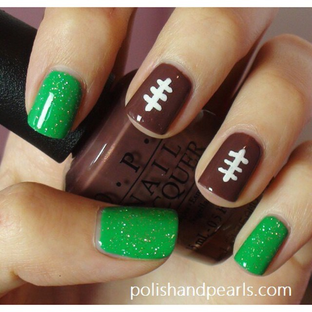 Super Bowl Nails! From polishandpearls.com