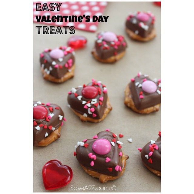 chocolate & pretzel heart treat for Valentines Day