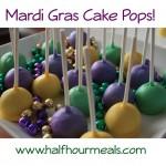 Mardi Gras Cake Pops are a fun and festive dessert to make from HalfHourMeals.com