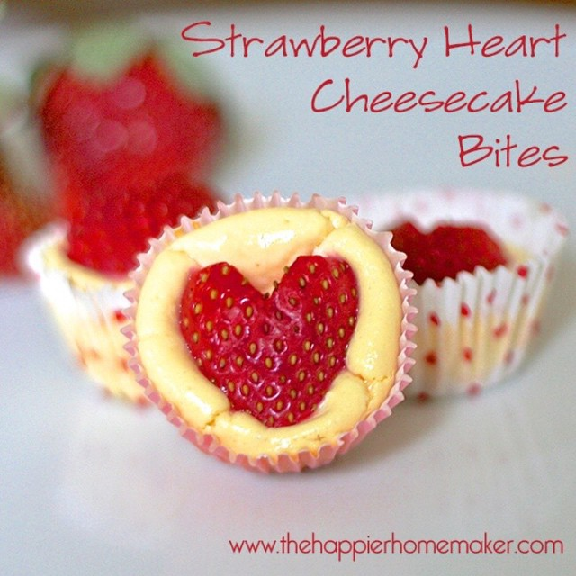 perfect Valentines Day treat Strawberry Heart Cheesecake Bites