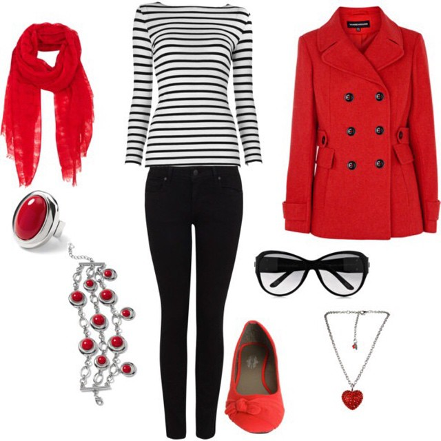 A casual red and black striped outfit for Valentines Day!❤️