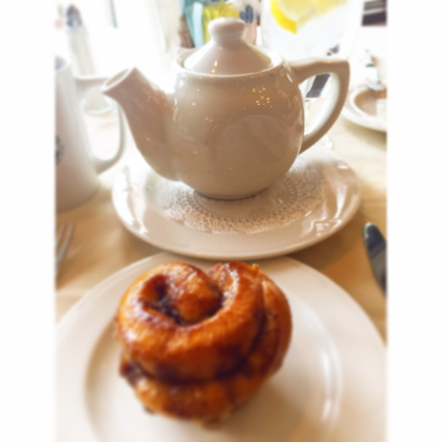 Hot tea and a cinnamon roll is not a bad start for a Monday
