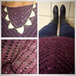 Navy & purple were a perfect match for my outfit today. I loved the comfy knit pattern and statement necklace together!