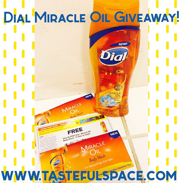 free bottle of the new @Dial Miracle Oil Body Wash
