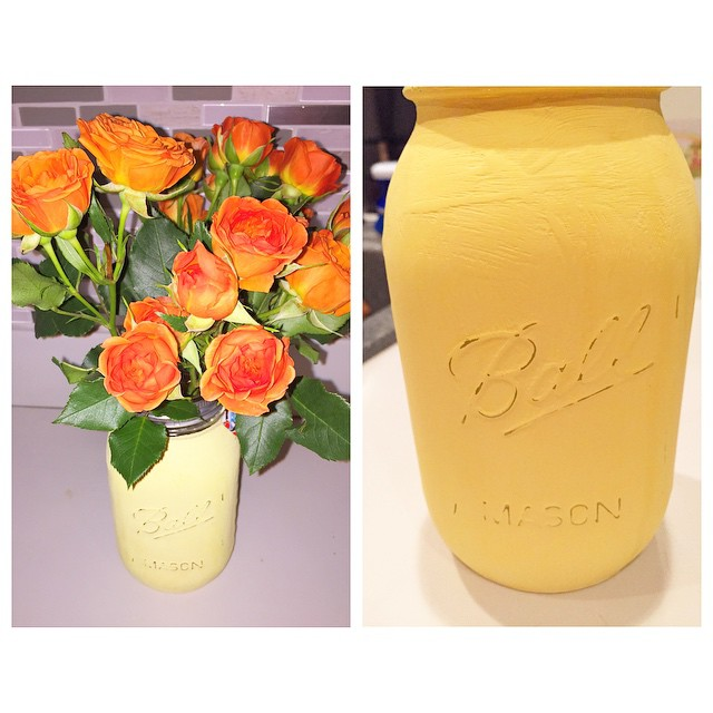 I made this distressed Mason Jar Vase and filled it with fresh mini roses