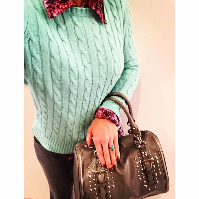 It's all about the cuffs and studded purse