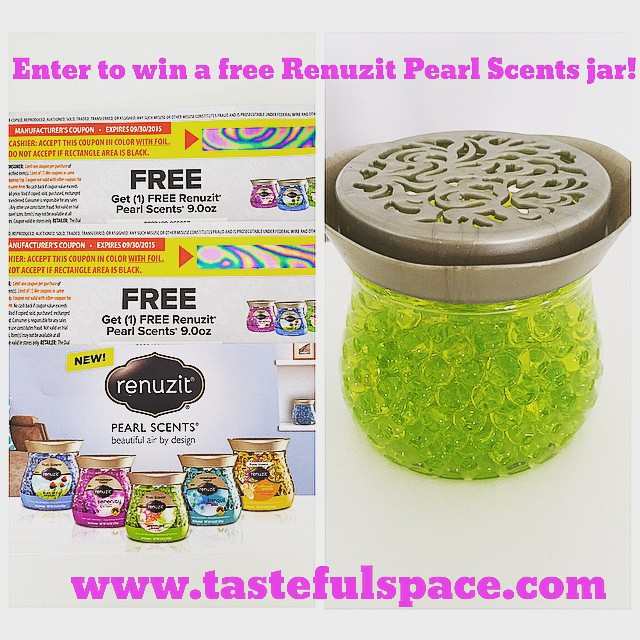 Head over to tastefulspace.com and enter to WIN a FREE Renuzit Pearl Scents jar!