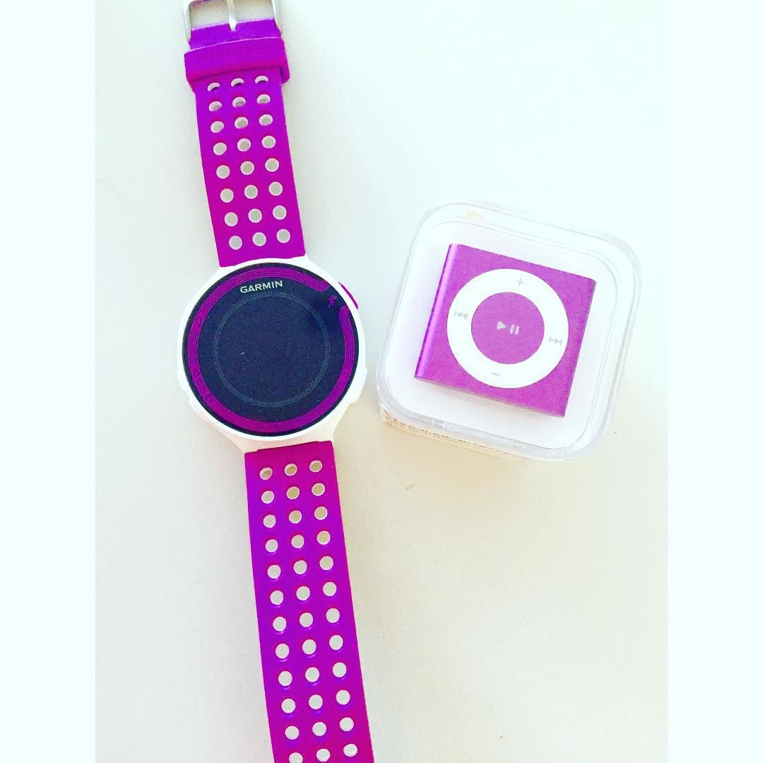 My two favorites gadgets right now…my @garmin GPS watch for running and my purple iPod shuffle to match💜