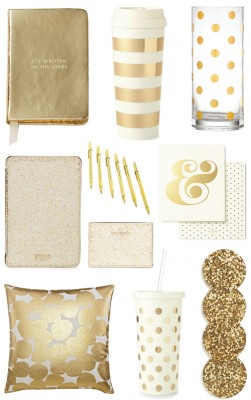 gold-office-supplies-and-accessories-decor