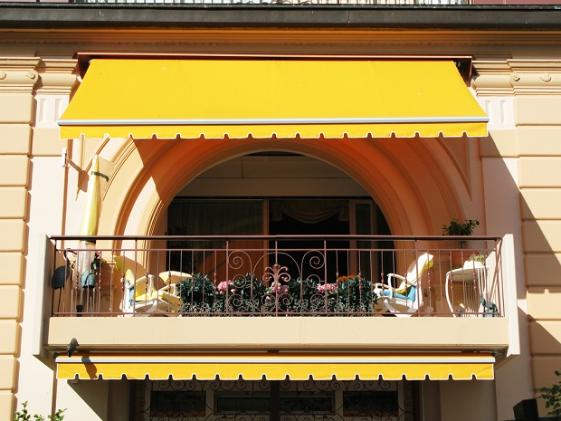 yellow canvas awning