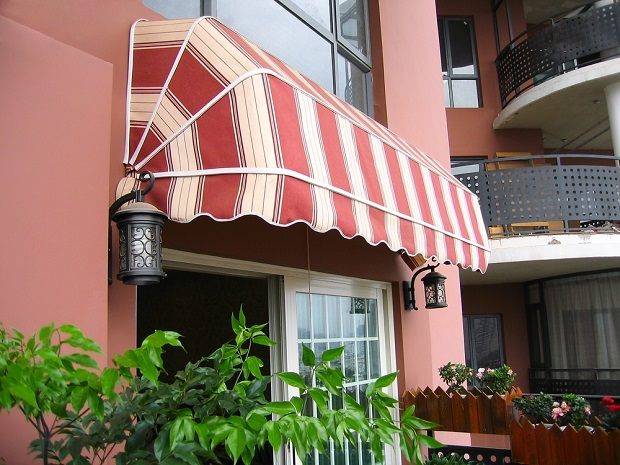 striped canvas awning