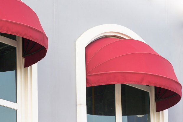 red canvas awning