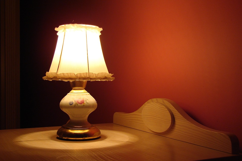 lamp near bed
