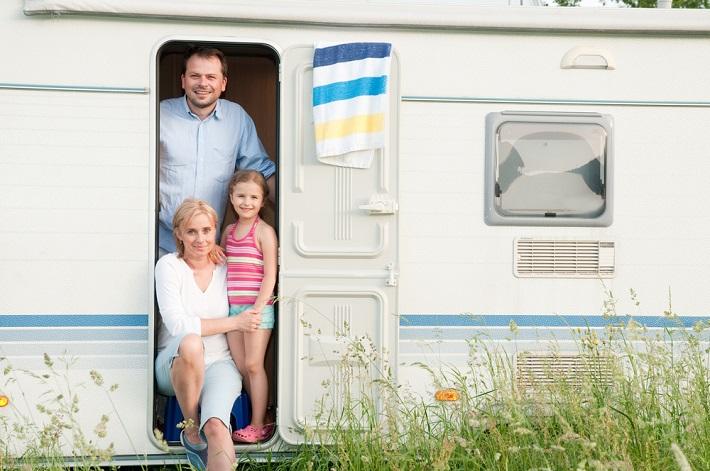caravan camping trip family