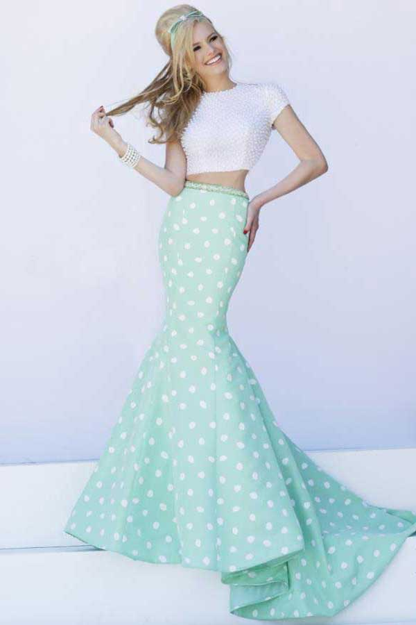 homecoming polka dot prom dress