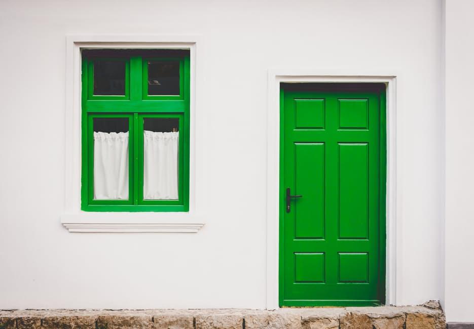 renting a house front door window