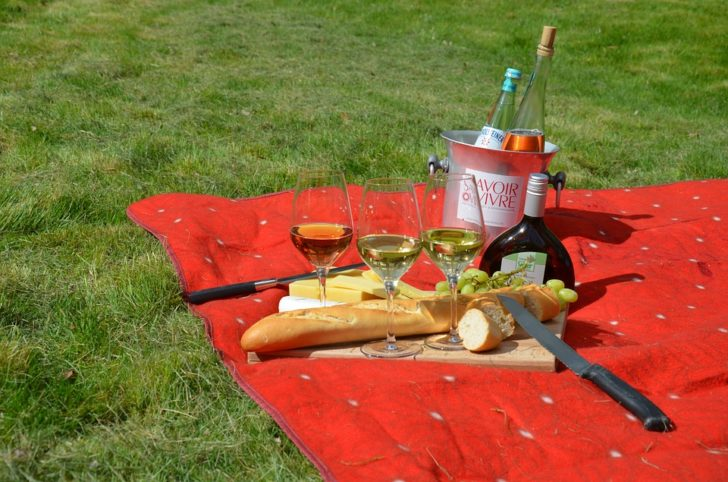 The Perfect Picnic outside wine and blanket